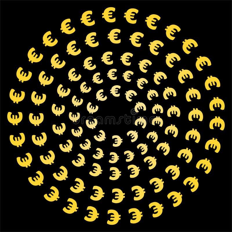 Konzentrische Kreise von Eurosymbolen stock abbildung