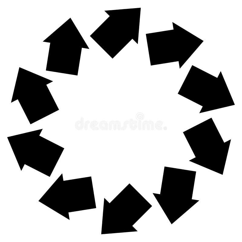 Konzentrisches Pfeilsymbol, zum der Rotation, Drehung, torsi zu veranschaulichen lizenzfreie abbildung