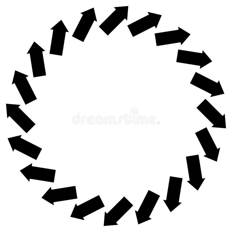 Konzentrisches Pfeilsymbol, zum der Rotation, Drehung, torsi zu veranschaulichen stock abbildung