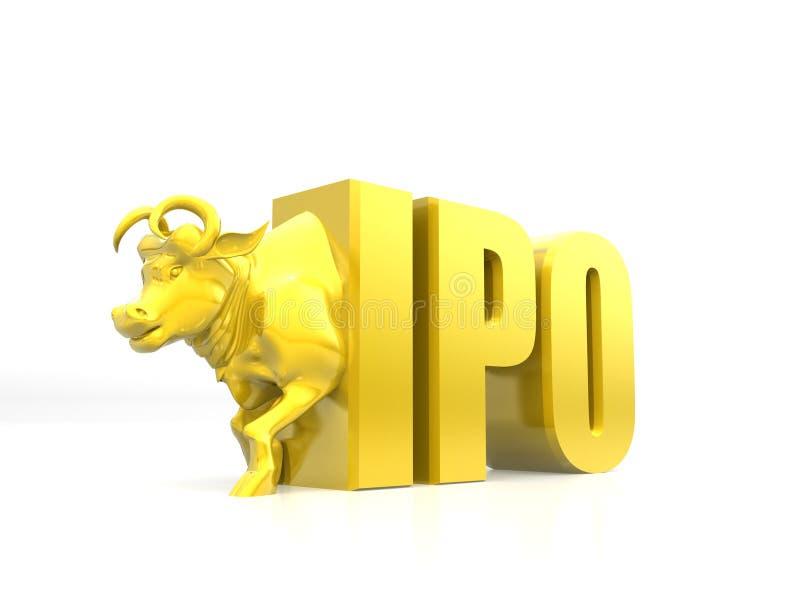 Konzept 'IPO-'öffentlicher Erstemission, Börse, Aktienmarktkonzept, Stier, der von IPO, Schritt zum Erfolg, IPO mit Goldenem spri vektor abbildung