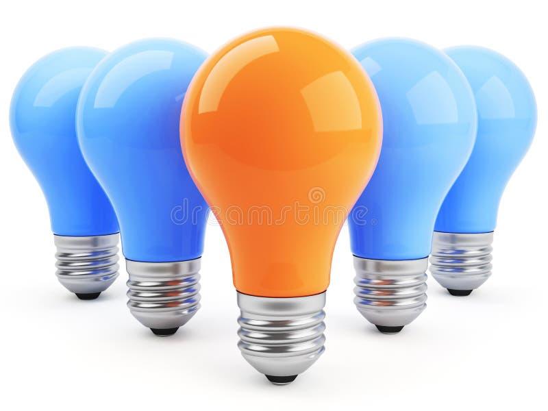Konzept 3d mit Lampen stock abbildung