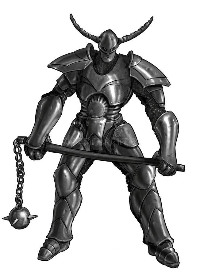 Konzept Art Fantasy Painting des Kriegers-Ritters in der vollen Rüstung und im Dreschflegel stock abbildung
