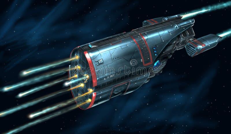 Konzept Art Painting des angreifenden Raum-Schiffs im Kampf stock abbildung