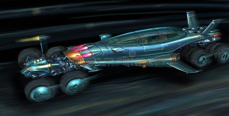 Konzept Art Painting von schneller futuristischer Jet Propelled Car lizenzfreie abbildung