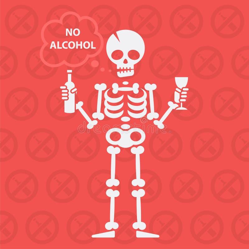 Konzept auf Thema kein Alkohol lizenzfreie abbildung