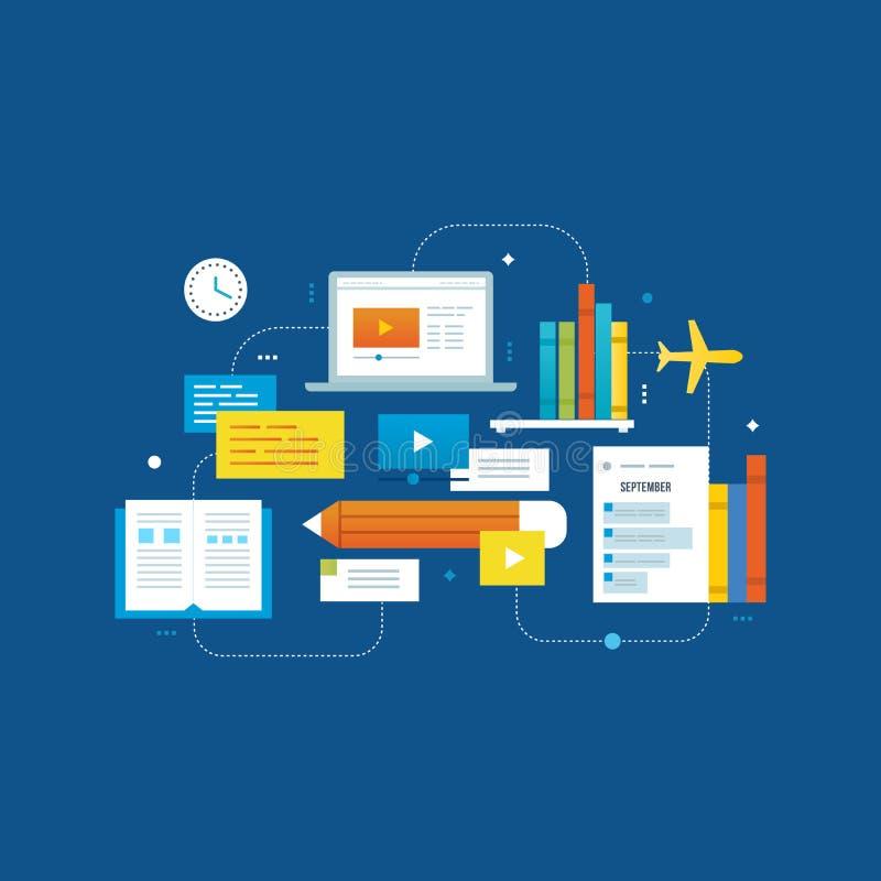 Konzept - Aus- und Weiterbildung, Entwicklung der videotutorial, on-line-Informationen vektor abbildung