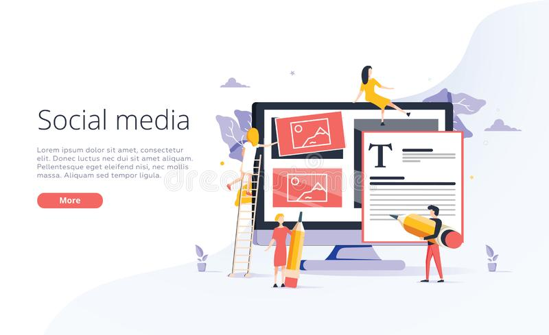 Konzept-Bloggen oder Ausbildung, kreatives Schreiben, Content Management für Webseite, Fahne, Darstellung, Social Media stock abbildung