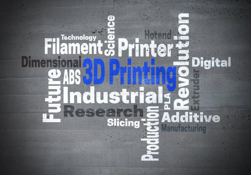 konzept da nuvem da palavra da Revolução Industrial da impressão 3d imagens de stock