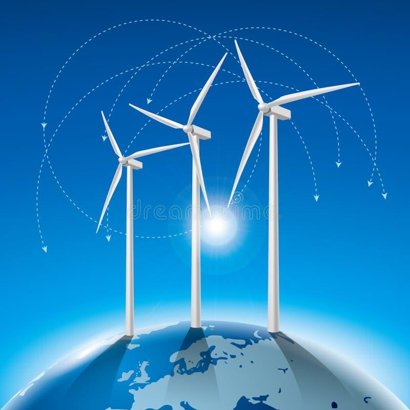 Konzept der alternativen Energie, Windgeneratoren auf Erde lizenzfreie abbildung