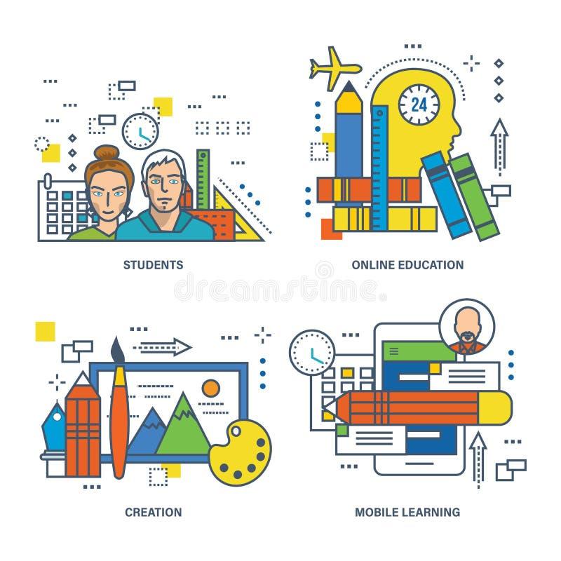 Konzept der Bildung, Kreativität, on-line, Studenten, bewegliches Lernen lizenzfreie abbildung