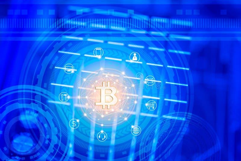 Konzept der bitcoin Krypta-Währungsblockkette mit Geschäfts- und Finanzikone und Leiterplattehintergrund lizenzfreies stockbild