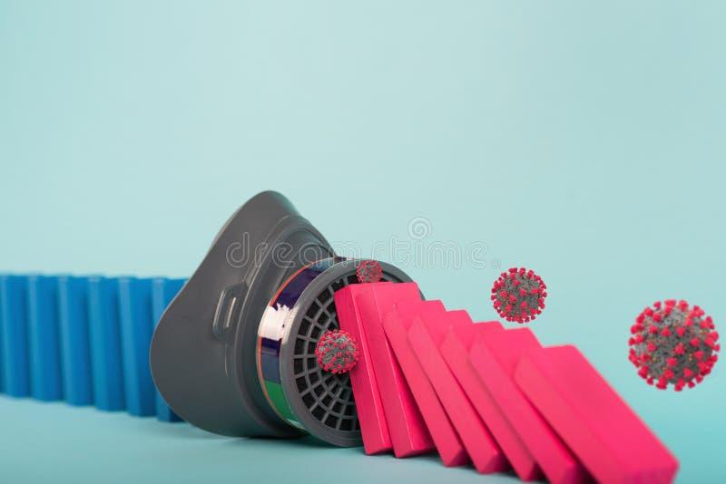 Konzept der Covid19-Coronavirus-Pandemie mit fallender Kette wie ein Dominospiel Ansteckung und Fortschreiten der Infektion stockfoto