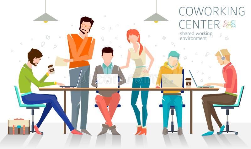 Konzept der coworking Mitte lizenzfreie abbildung
