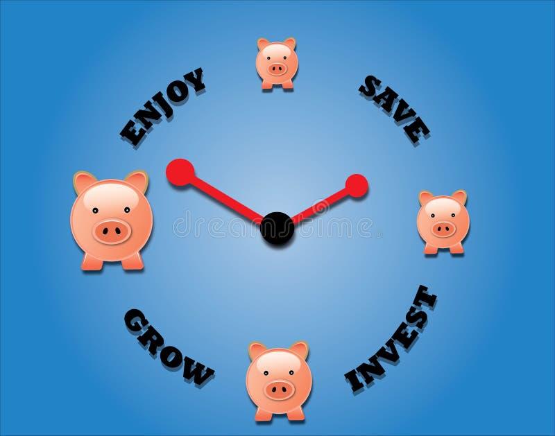 Konzept der Einsparung, das Wachstum investierend und genießen lizenzfreie abbildung