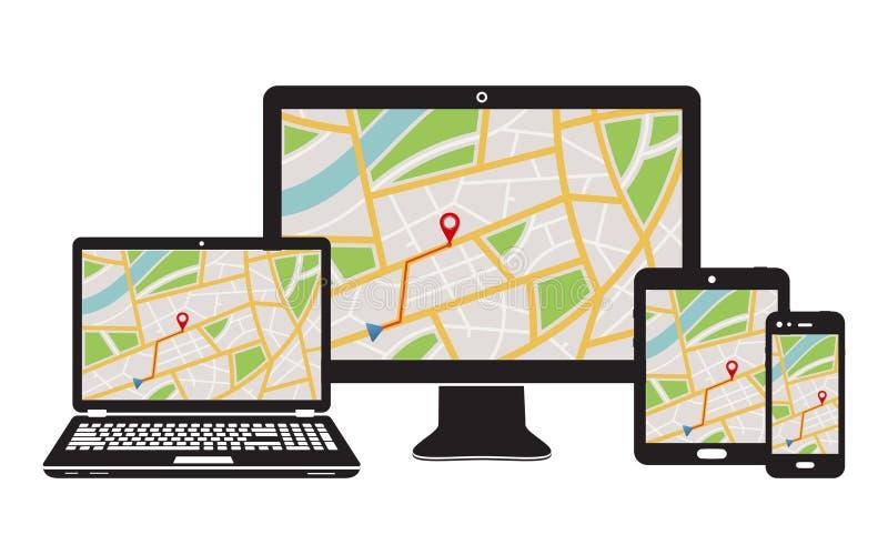 Konzept der entgegenkommenden Navigationsanwendung für Tischrechner, Laptop, Tablet-PC und Handy lizenzfreie abbildung