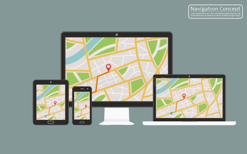 Konzept der entgegenkommenden Navigationsanwendung für Tischrechner, Laptop, Tablette, Handy mit gps-Navigationskarte auf Schirm stock abbildung