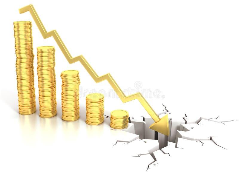 Konzept der Finanzkrise 3d lizenzfreie abbildung