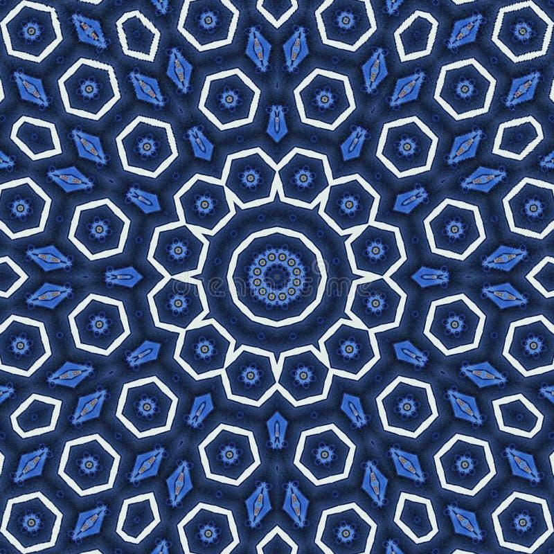 Konzept der Freiheit, Arabeskenmandalaverzierung in den blauen und weißen sechseckigen Elementen stock abbildung