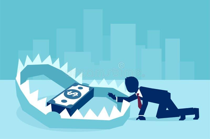 Konzept der Geldfalle im Geschäft lizenzfreie abbildung