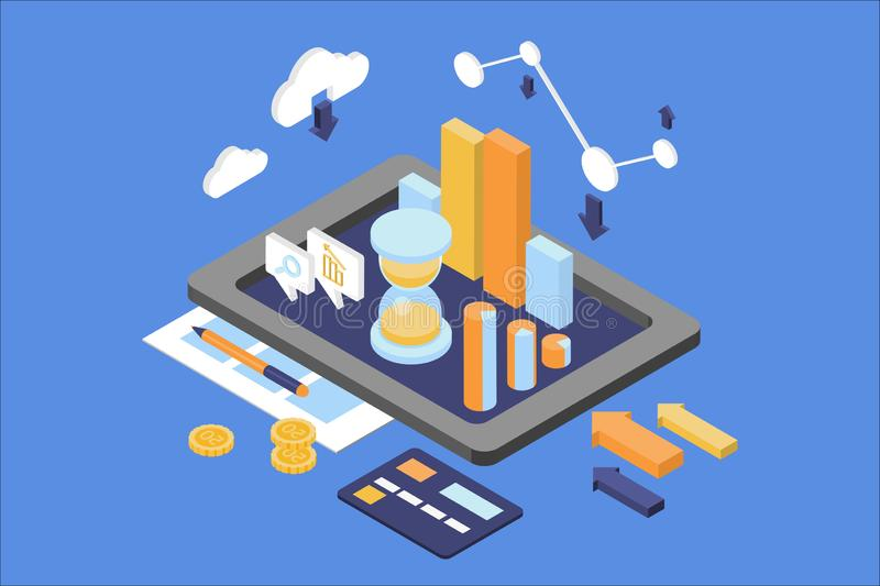 Konzept der Gesch?ftsanalytik Finanz- und Managementthema Digital-Tablette mit rundem Diagramm, wachsendes Diagramm, Sanduhr stock abbildung