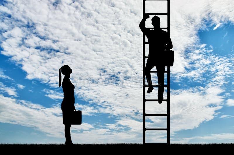 Konzept der Geschlechtsungleichheit und -benachteiligung von Frauen in ihren Karrieren stockfotografie