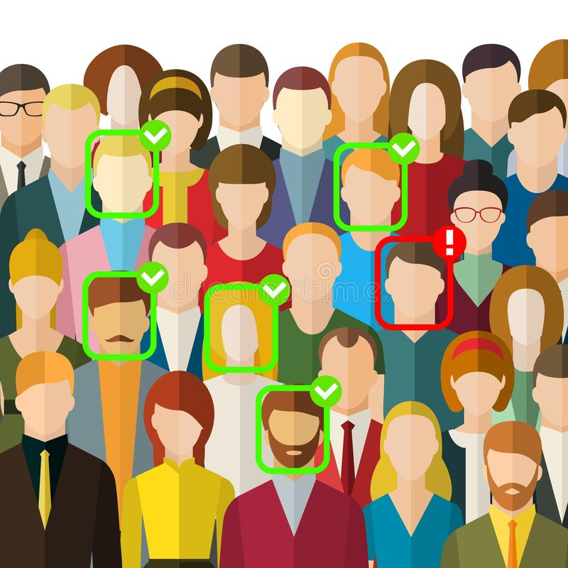 Konzept der Gesichtsidentifizierung Eine Menge von Leuten mit Identifikations-Kennzeichen auf Gesicht Gesichtserkennungssystem, d vektor abbildung