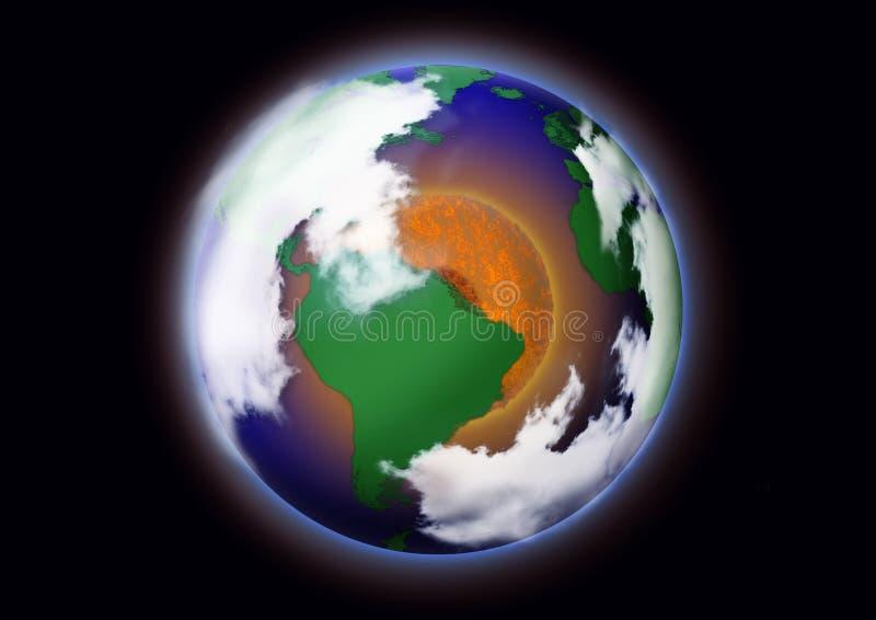 Konzept der globalen Erwärmung Bild der Erde mit rotem Kreis stock abbildung