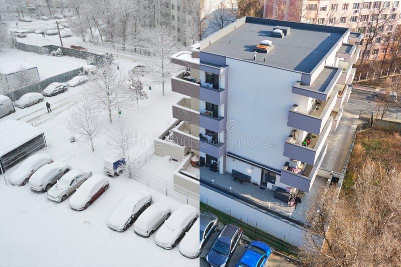 Konzept der globalen Erwärmung: gleiche Lage am selben Wintertag, ein Jahr auseinander - Komposition von zwei Fotos lizenzfreie stockfotografie
