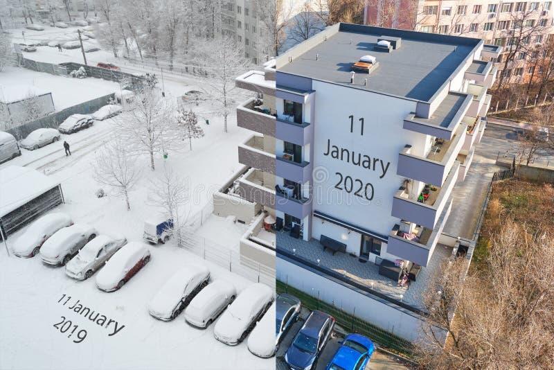 Konzept der globalen Erwärmung: gleiche Lage am selben Wintertag, ein Jahr auseinander - Komposition von zwei Fotos, eins mit vie lizenzfreie stockbilder