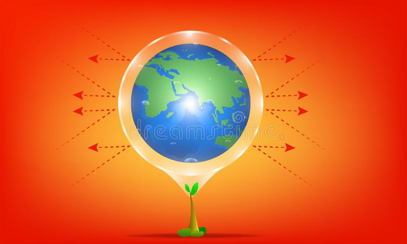 Konzept der globalen Erw?rmung der Baum ist Schutzsonnenstrahl von der Sonne Hei?er Planet Illustration esp10 lizenzfreie abbildung