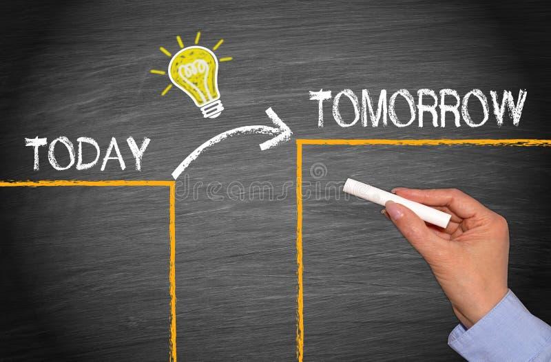Konzept der großartigen Idee - heute und morgen lizenzfreie stockbilder