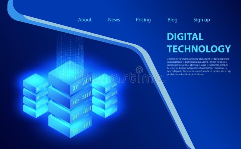 Konzept der großen Datenverarbeitung, Energiestation von Zukunft, Serverraumgestell, isometrische Vektorillustration des Rechenze lizenzfreie abbildung