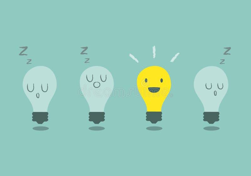 Konzept der guten Idee mit Glühlampe stock abbildung