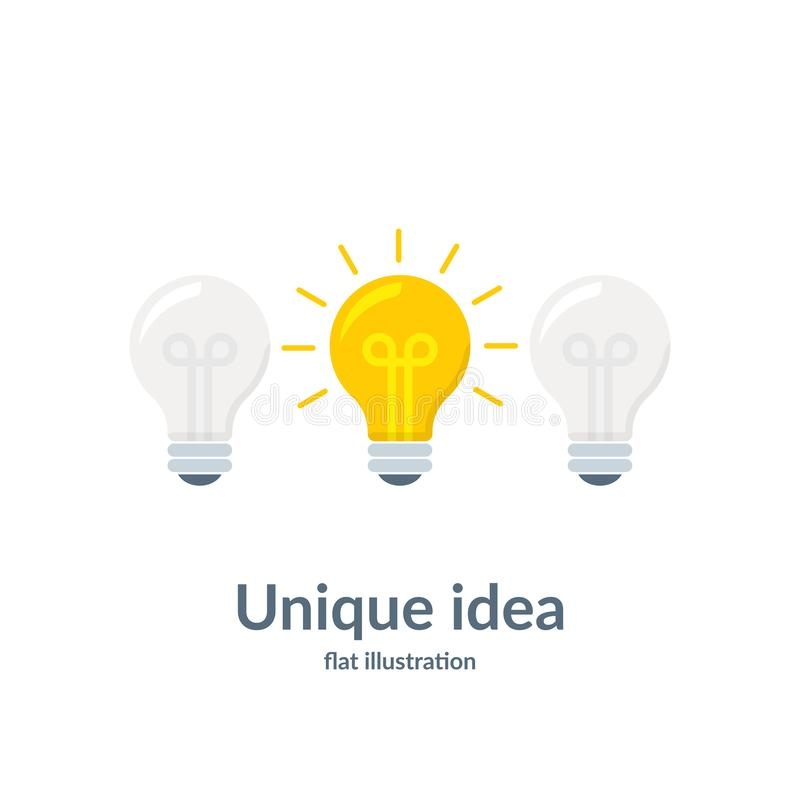 Konzept der guten Idee mit Glühlampe Einzigartige Idee Vektorabbildung getrennt auf weißem Hintergrund stock abbildung