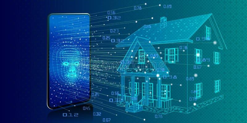 Konzept der Haustechnologie mit drahtloser Steuerung Intelligentes Haus S lizenzfreie abbildung