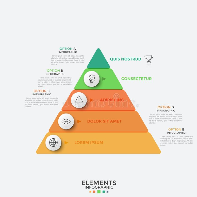 Konzept der Hierarchie mit fünf Niveaus lizenzfreie abbildung