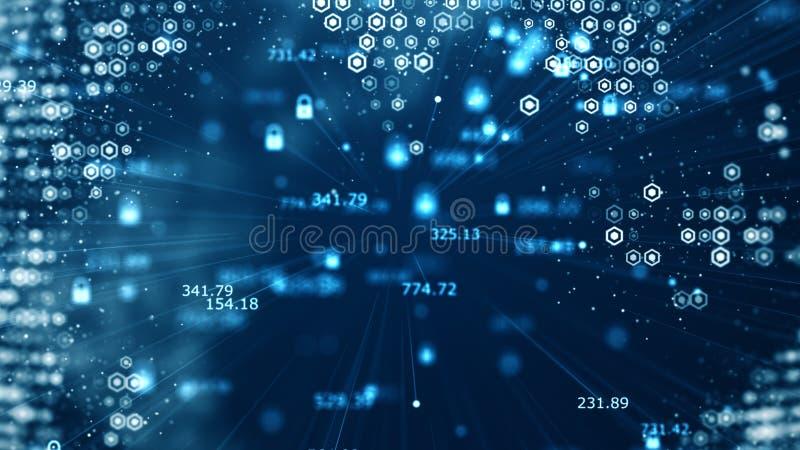 Konzept der Internetsicherheit und der globalen Kommunikation Analyse von Informationen Technologiedatenbinär code-Netzbeförderun lizenzfreie abbildung