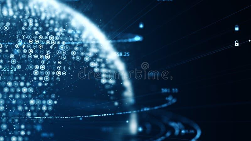 Konzept der Internetsicherheit und der globalen Kommunikation Analyse von Informationen Technologiedatenbinär code-Netzbeförderun stock abbildung