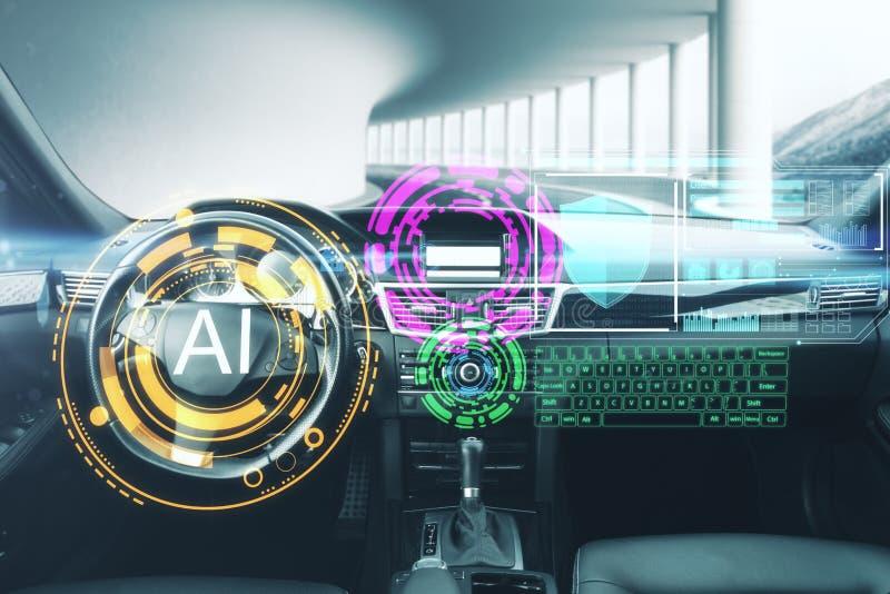 Konzept der künstlichen Intelligenz und des Fahrzeugs lizenzfreie stockfotos