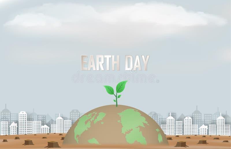 Konzept der Kampagne und helfen, unsere Welt und pflanzen Bäume während einer viel versprechenden Zukunft instandzuhalten lizenzfreie abbildung