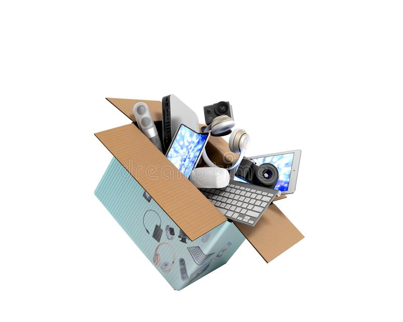 Konzept der kleinen Unterhaltungselektronikfliege der Produktkategorien aus dem Kasten 3d heraus auf Wei? keinen Schatten ?bertra vektor abbildung