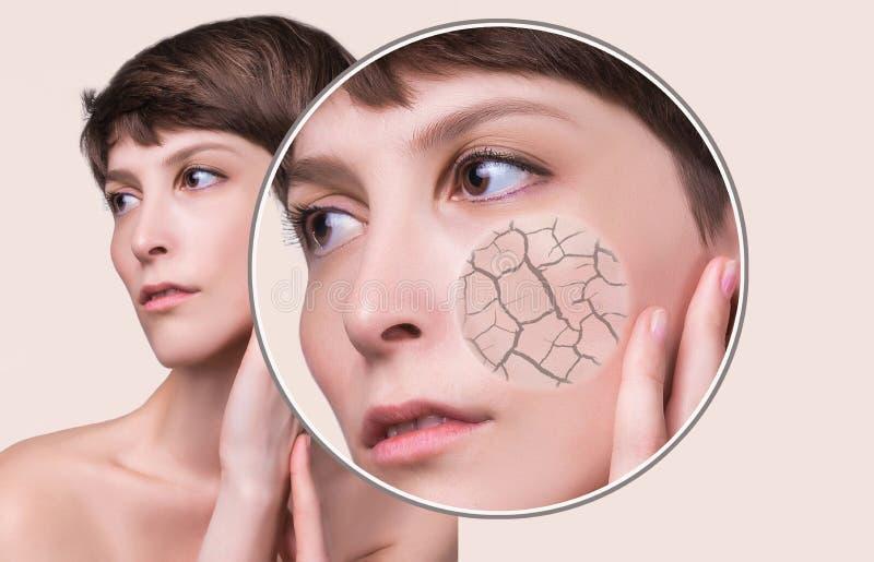 Konzept der kosmetischen Effekte, der Behandlung und der Hautsorgfalt lizenzfreie stockfotografie