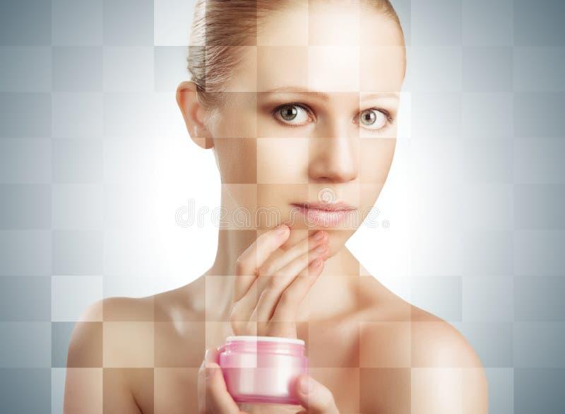 Konzept der kosmetischen Effekte, der Behandlung und der Hautpflege. Gesicht von y lizenzfreies stockbild