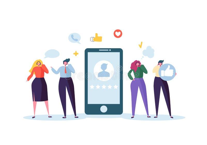Konzept der Kundendienst-technische Unterstützungs24h Betreiber-on-line-Charaktere, die mit Kunden durch Kopfhörer sprechen helpl stock abbildung
