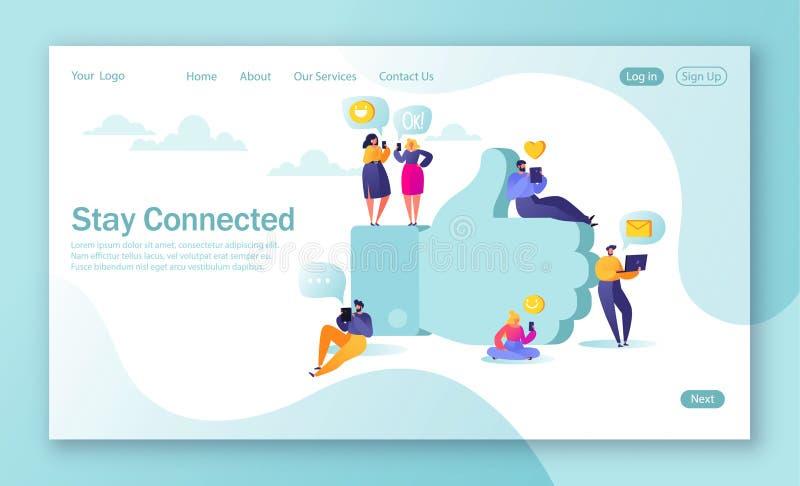 Konzept der Landungsseite für bewegliche Websiteentwicklung und Webseitenentwurf Flache Leutecharaktere, die im nea der sozialen  vektor abbildung