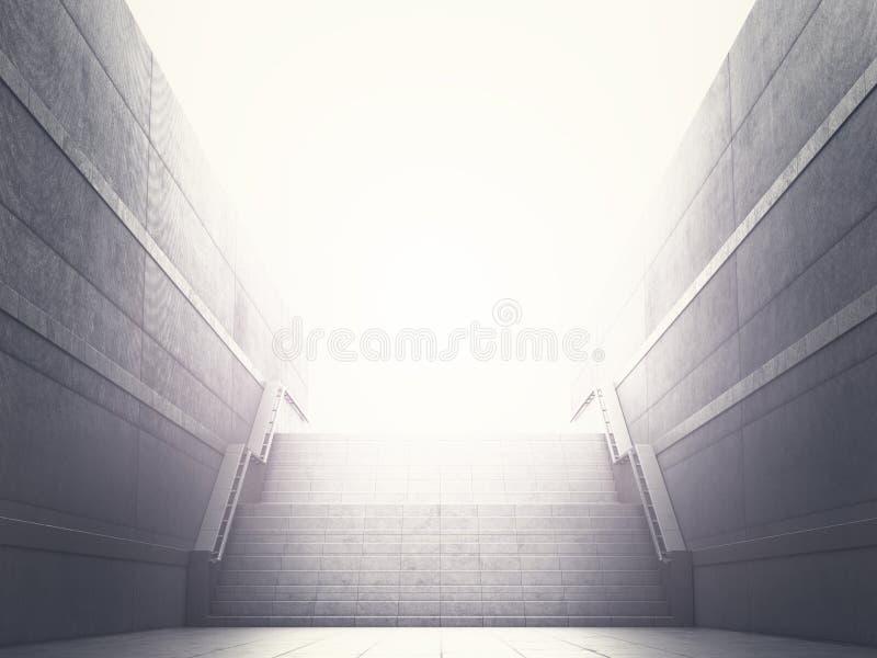 Konzept der Leistung, Karrierewachstum Schritte, die zu das Licht führen Abbildung 3D stock abbildung