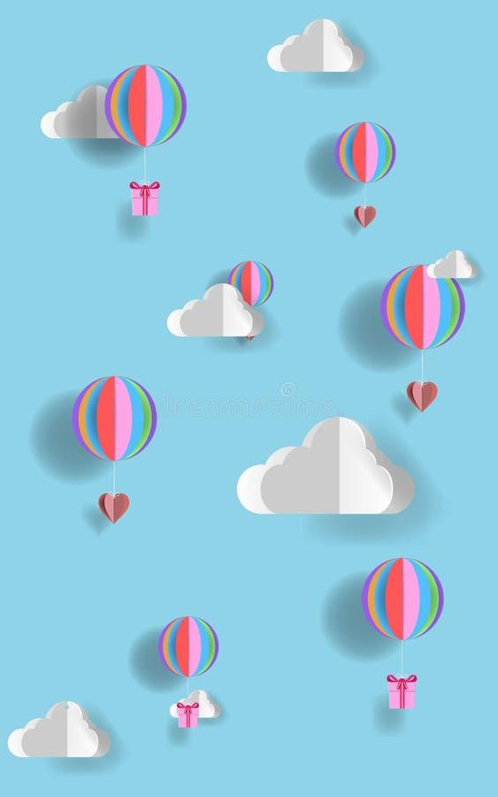 Konzept der Liebe und des Valentinstags, Origami stellte Heißluftballon in einer Herzform her Papierkunst- und Handwerksart stock abbildung