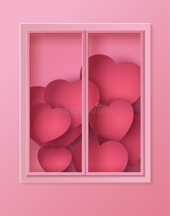 Konzept der Liebe und des Valentinstags, viel Herz im Rahmen behi stock abbildung