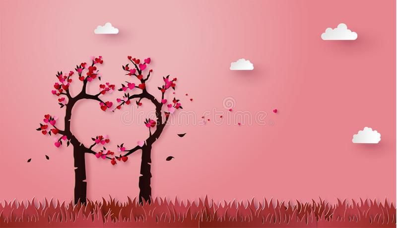 Konzept der Liebe und Valentinstag mit Liebesbaum stock abbildung