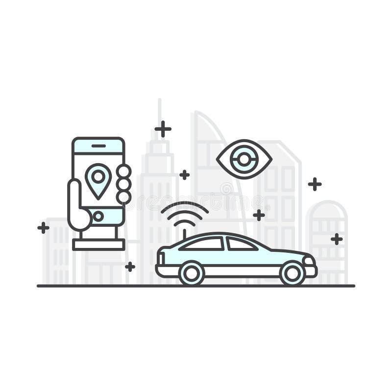 Konzept der Miete ein Auto, kaufen ein Fahrerhaus, Selbstspurhaltung, intelligente Mobile-APP lizenzfreie abbildung